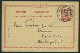 DSWA P 14 BRIEF, OST-AFRIKA-LINIE *q 1.9.09, 10 Pf. Ganzsachenkarte Aus LÜDERITZBUCHT, Kleiner Eckknitter Sonst Pracht - Kolonie: Deutsch-Südwestafrika