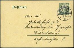 DSWA P 18 BRIEF, SWAKOPMUND, 8.12.11, Auf 5 Pf. Grün Ganzsachenkarte Nach Düsseldorf, Rückseitiger Innendienstschreibsch - Kolonie: Deutsch-Südwestafrika