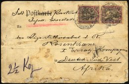 DSWA DR 76 Paar BRIEF, 1905, 50 Pf, Germania Im Senkrechten Paar (obere Marke Beschädigt) Auf Paketadresse Nach Deutsch- - Kolonie: Deutsch-Südwestafrika