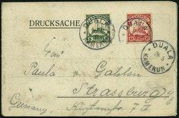 KAMERUN 9,21I BRIEF, 1907, 10 Pf. Dunkelkarminrot, Ohne Wz. Und 5 Pf. Grün, Mit Wz., Auf Leporello (Gruß Aus Kribi) Nach - Kolonie: Kamerun