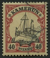 KAMERUN 13II O, 1900, 40 Pf. Karmin/schwarz Mit Abart Punkt In Der Schiffs-Seitenlinie Unterhalb Des Hinteren Schornstei - Kolonie: Kamerun