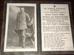 Sterbebild Wk1 Ww1 Bidprentje Avis Décès Deathcard IR2 Minenwerfer TURENE 6. Oktober 1918 Aus Maisenberg - 1914-18