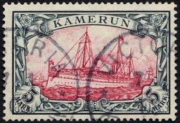 KAMERUN 19 O, 1900, 5 M. Grünschwarz/bräunlichkarmin, Ohne Wz., Stempel VICTORIA, Pracht, Signiert Senf, Mi. 600.- - Kolonie: Kamerun