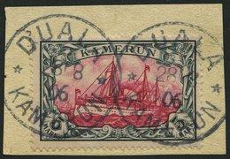 KAMERUN 19 BrfStk, 1900, 5 M. Grünschwarz/rot, Ohne Wz., Stempel DUALA, Prachtbriefstück, Mi. (600.-) - Kolonie: Kamerun