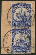 KAMERUN 23Ia Paar BrfStk, 1914, 20 Pf. Lilaultramarin, Mit Wz., Im Senkrechten Paar Auf Postabschnitt, Stempel VICTORIA, - Kolonie: Kamerun