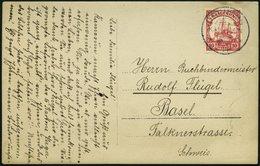 KAMERUN 22a BRIEF, DSCHANG, 16.5.11, Ansichtskarte Mit 10 Pf. Lebhaftkarminrot, Mit Wz., Nach Basel, Pracht - Kamerun (1915-1959)