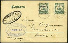 KAMERUN 21I,P 15 BRIEF, GARUA, 11.7.11, Mit 5 Pf. Grün, Mit Wz. Auf 5 Pf.-Ganzsachenkarte Von ADAMAUA Nach Montevideo, R - Kamerun (1915-1959)