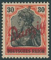 FREIE STADT DANZIG 37 *, 1920, 30 Pf. Kleiner Innendienst, Mehrere Falzreste, Pracht, Gepr. Gruber, Mi. 60.- - Danzig