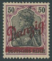 FREIE STADT DANZIG 39 *, 1920, 50 Pf. Kleiner Innendienst, Falzrest, Pracht, Mi. 200.- - Danzig