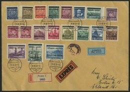 BÖHMEN UND MÄHREN 1-19 BRIEF, 1939, Kopfbilder Und Landschaften Auf überfrankiertem Echt Gelaufenen Eil-Einschreibbrief  - Böhmen Und Mähren