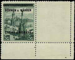 BÖHMEN UND MÄHREN 18LW **, 1939, 5 Kc. Olmütz Mit Waagerechtem Leerfeld, Bogenecke, Pracht, Gepr. Gilbert, Mi. (50.-) - Böhmen Und Mähren