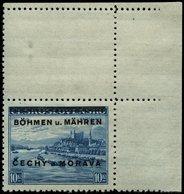 BÖHMEN UND MÄHREN 19LS **, 1939, 10 Kc. Pressburg Mit Senkrechtem Leerfeld, Pracht, Gepr. Gilbert, Mi. 80.- - Böhmen Und Mähren