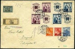 BÖHMEN UND MÄHREN 53/4Zf BRIEF, 1940, Rotes Kreuz Mit Zusatzfrankatur (Mi.Nr. 22,28,40) Auf Einschreib-Luftpostbrief Nac - Böhmen Und Mähren