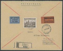 BÖHMEN UND MÄHREN 61 BRIEF, 1941, 20 K. Schwärzlichbraun Auf Luftpost-Eil-Einschreibbrief Mit Rückschein Nach Liechtenst - Böhmen Und Mähren