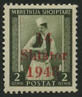 ALBANIEN 2I **, 1943, 2 Q. Bräunlicholiv Mit Abart 1948 Statt 1943, Kleiner Zahnfehler Sonst Pracht, Gepr. Krischke, Mi. - Besetzungen 1938-45