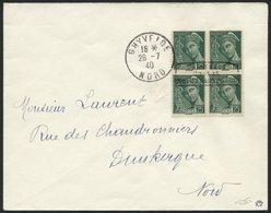 DÜNKIRCHEN 11I BRIEF, 1940, 25 C. Blaugrün Im Viererblock (obere Linke Marke Ein Verkürzter Zahn) Mit Aufdruck In Type I - Besetzungen 1938-45