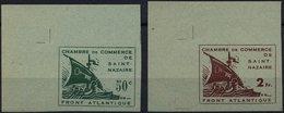 ST.NAZAIRE 1,2a U (*), 1945, Handelskammer, Ungezähnt, Je Aus Der Linken Oberen Bogenecke, Pracht, R!, Fotoattest Tust,  - Besetzungen 1938-45