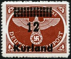 KURLAND 4ByI **, 1945, 12 Auf Rotbraun, Durchstochen, Waagerechte Gummiriffelung, Mit Abart Kurzer Fuß Der 2, Pracht, Mi - Besetzungen 1938-45