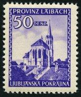 LAIBACH 49I **, 1945, 50 C. Violett Mit Abart 2 Telegraphendrähte In Höhe Des Kirchturms, Pracht, Mi. 140.- - Occupation 1938-45