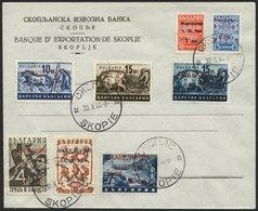 MAKEDONIEN 7IX BRIEF, 1944, 20 Auf 7 L. Schwarzblau Mit Abart Offenes O In Makedonia, Im Kompletten Satz Auf Umschlag, P - Besetzungen 1938-45