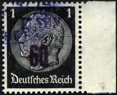 LJADY 1b O, 1941, 60 Kop. Auf 1 Pf. Schwarz, Aufdruck Schwarzviolett, Rechtes Randstück, Pracht, RR!, Fotoattest Zirath, - Besetzungen 1938-45