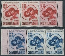 SERBIEN 56/7AII **, 1941, 2 Und 4 D. Kriegsgefangene, Je Mit Stecherzeichen In Dreierstreifen Mit Nr. 56 Und 57II Und AI - Occupation 1938-45