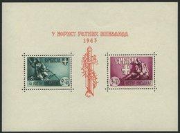SERBIEN Bl. 4III **, 1943, Block Kriegsinvaliden Mit Abart Dreieckiger Farbfleck In Der Mitte Der Rechten Mantelhälfte B - Occupation 1938-45