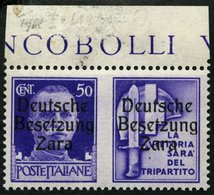 ZARA 20III *, 1943, 50 C. + Stahlhelm, Aufdrucktype III, Pracht, Gepr. Krischke, Mi. 270.- - Besetzungen 1938-45