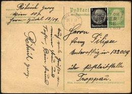 FELDPOST II. WK BELEGE P 225,512 BRIEF, Übungspost 1939: 5 Pf. Hindenburg- Ganzsachenkarte Mit 1 Pf. Zusatzfrankatur Auf - Besetzungen 1938-45