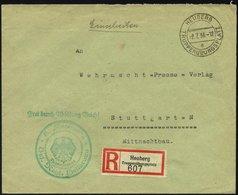 FELDPOST II. WK BELEGE 1936, Militär-Einschreibbrief Vom Truppenübungsplatz Heuberg Mit Entsprechendem R-Zettel Und Grün - Occupation 1938-45