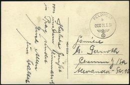 FELDPOST II. WK BELEGE 21.3.1939, Feldpost-Ansichtskarte: Herzliche Grüße Von Unserem Einmarsch In Prag Sendet Euch...., - Occupation 1938-45