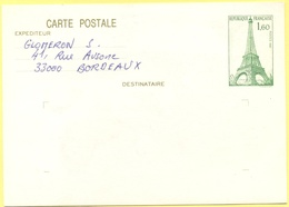 FRANCIA - France - 1983 - 1,60 Tour Eiffel - Carte Postale - Intero Postale - Entier Postal - Postal Stationery - Wrote - Biglietto Postale