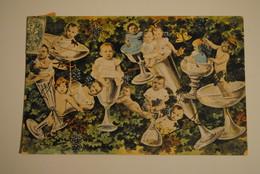 Carte Fantaisie Bebes Dans Coupes De Champagne Verres  Photo Montage Surrealisme - Bébés