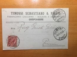 9-11-1914-CARTOLINA PUBBLICITARIA-CAMPOLIGURE-GENOVA-DITTA TIMOSSI SEBASTIANO-CHIODERIE-SOEDITA A RIMINI-MARCA DA BOLLO - 1900-44 Vittorio Emanuele III