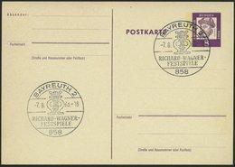 GANZSACHEN P 73 BRIEF, 1962, 8 Pf. Gutenberg, Postkarte In Grotesk-Schrift, Leer Gestempelt Mit Sonderstempel BAYREUTH 2 - Deutschland