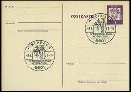 GANZSACHEN P 73 BRIEF, 1962, 8 Pf. Gutenberg, Postkarte In Grotesk-Schrift, Leer Gestempelt Mit Sonderstempel FISCHBACH  - Deutschland