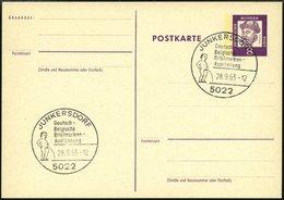 GANZSACHEN P 73 BRIEF, 1962, 8 Pf. Gutenberg, Postkarte In Grotesk-Schrift, Leer Gestempelt Mit Sonderstempel JUNKERSDOR - Deutschland