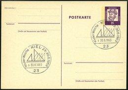 GANZSACHEN P 73 BRIEF, 1962, 8 Pf. Gutenberg, Postkarte In Grotesk-Schrift, Leer Gestempelt Mit Sonderstempel KIEL KIELE - Deutschland