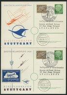 GANZSACHEN PP 8/6,7 BRIEF, 1954, Privatpostkarte 10 Pf. Heuss I, Deutschlandflug 1956 Mit 15 Pf. Zusatzfrankatur Je Nach - Deutschland