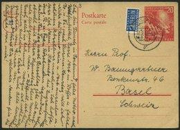 GANZSACHEN PSo 2 BRIEF, 1949, 20 Pf. Bundestag, Bedarfskarte In Die Schweiz, Pracht, Mi. 150.- - Deutschland