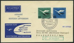 DEUTSCHE LUFTHANSA 18 BRIEF, 1.4.1955, Düsseldorf-Frankfurt/Main, Prachtbrief - BRD