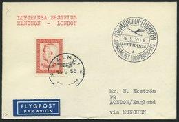 DEUTSCHE LUFTHANSA 27 BRIEF, 16.5.1955, München-London, Brief Aus Schweden, Pracht - BRD