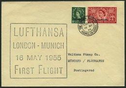 DEUTSCHE LUFTHANSA 29 BRIEF, 16.5.1955, London-München, Schwarz-violetter Stempel, R!, Frankiert Mit Brit.Post In Tanger - BRD