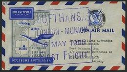 DEUTSCHE LUFTHANSA 29 BRIEF, 16.5.1955, London-München, Rückseitig Stempel Deutsche Lufthansa Aktiengesellschaft Station - BRD