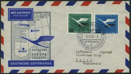 DEUTSCHE LUFTHANSA 31 BRIEF, 17.5.1955, Hamburg-Paris, Prachtbrief - BRD