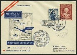 DEUTSCHE LUFTHANSA 32 BRIEF, 17.5.1955, Frankfurt-Paris, Brief Ab Wien Mit österreichischer Frankatur, Pracht - BRD