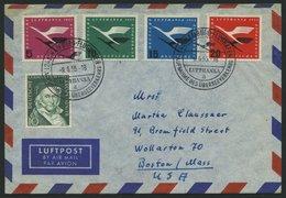 DEUTSCHE LUFTHANSA 34 BRIEF, 8.6.1955, Hamburg-New York, Frankiert Mit Komplettem Satz - BRD
