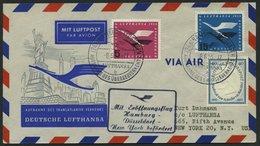 DEUTSCHE LUFTHANSA 34 BRIEF, 8.6.1955, Hamburg-New York, Prachtbrief - BRD