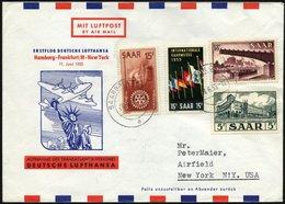 DEUTSCHE LUFTHANSA 40 BRIEF, 11.6.1955, Hamburg-New York, Prachtbrief - BRD