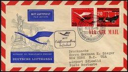 DEUTSCHE LUFTHANSA 41 BRIEF, 11.6.1955, Frankfurt-New York, Prachtbrief - BRD